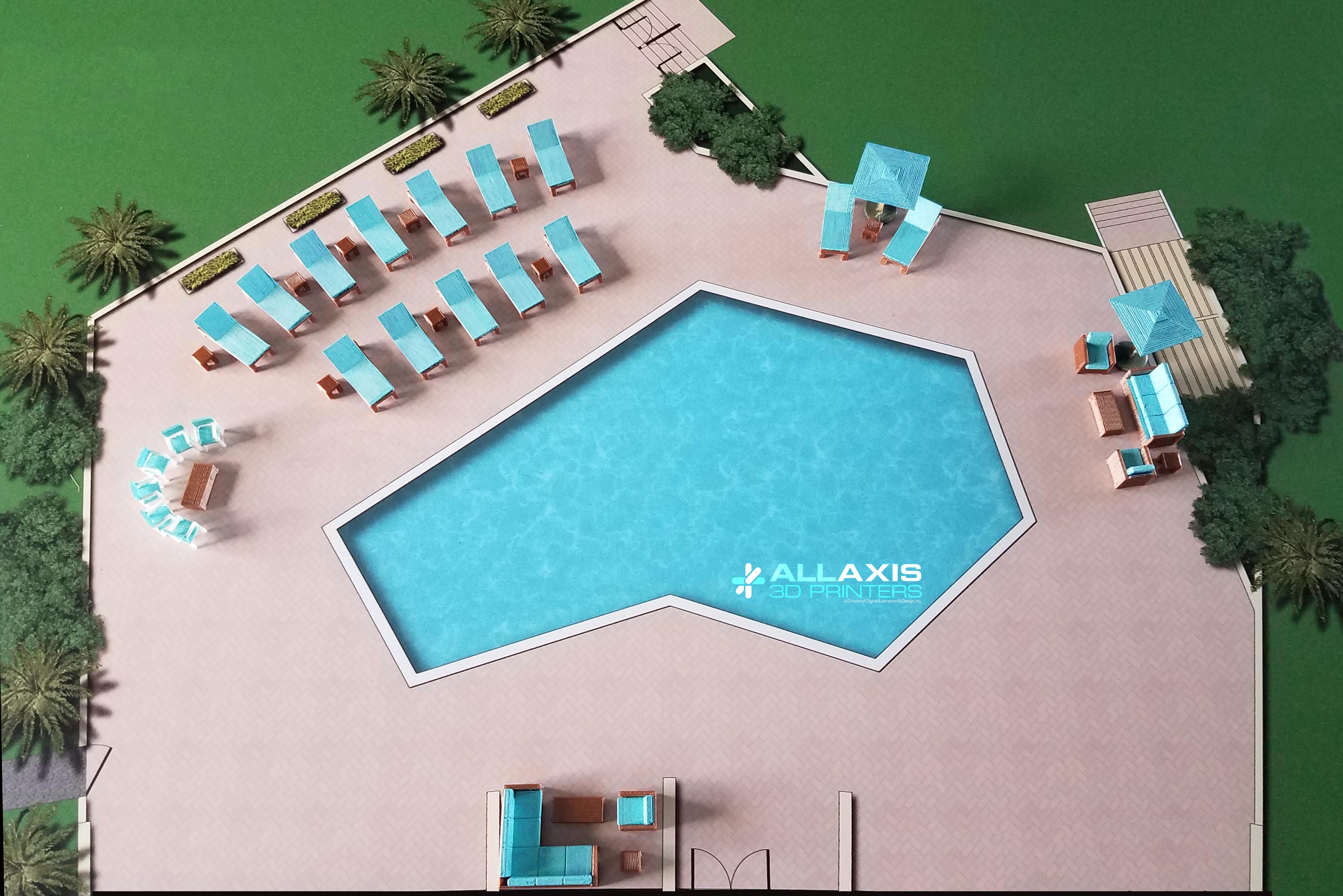 3D digital rendering of pool area