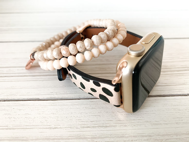 Deco Dot Apple Watch Band and Matching Bracelet Stack