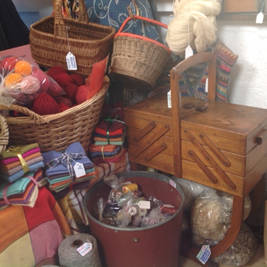 Vintage baskets and sewing stands
