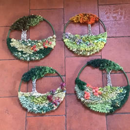 Woven landscape wall hangings, available in different sizes and also as a kit to make your own