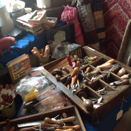 Vintage rag rug tools and other textile equipment