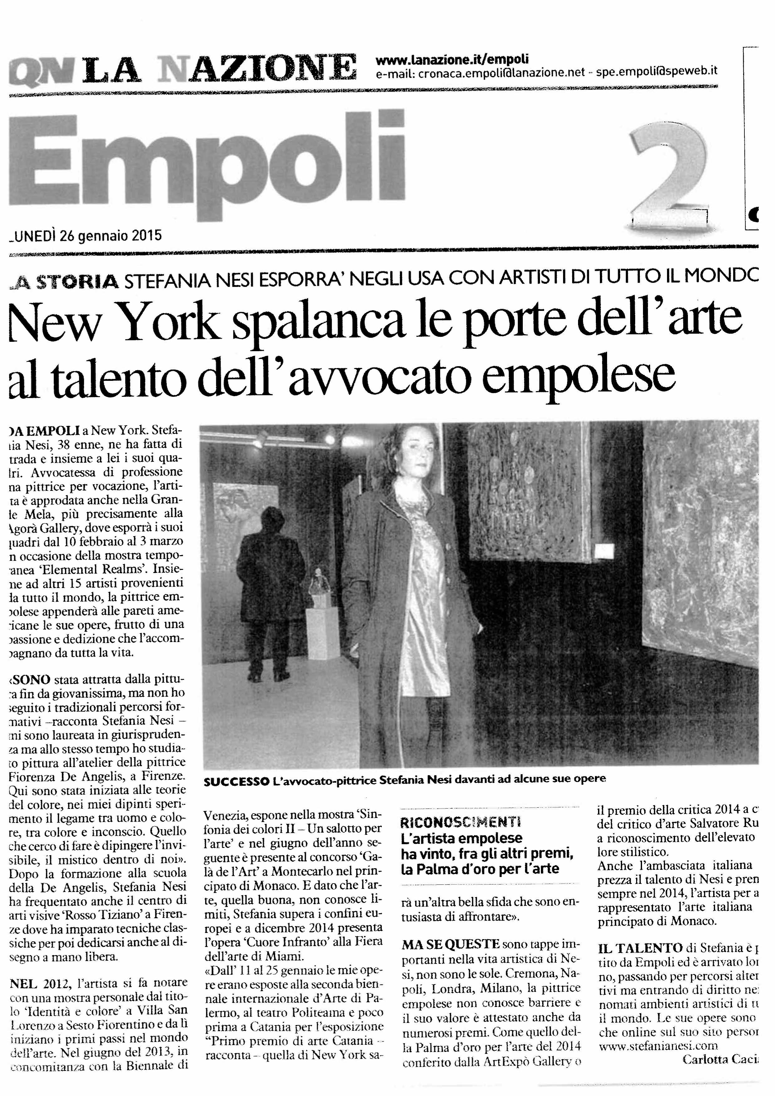 La Nazione, Empoli, Gennaio 2015