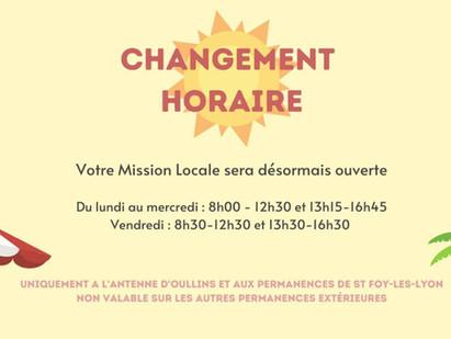 CHANGEMENT HORAIRE MISSION LOCALE 🌞