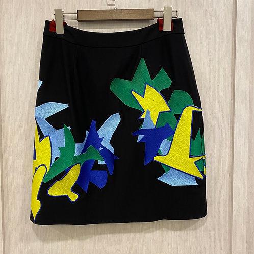 H2019090104幾何鳥刺繡半腰裙
