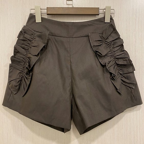 M070100620 花邊波浪短褲棕色