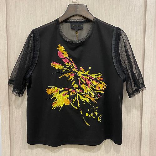 H010100081蜻蜓刺繡蕾絲袖上衣