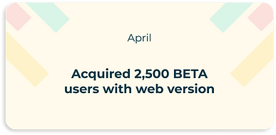acquired 2,500 BETA users with web version