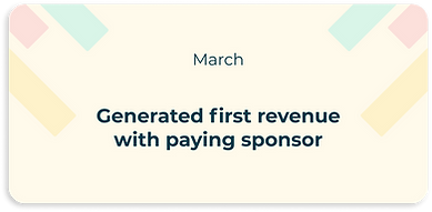 generated first revenue with paying sponsor