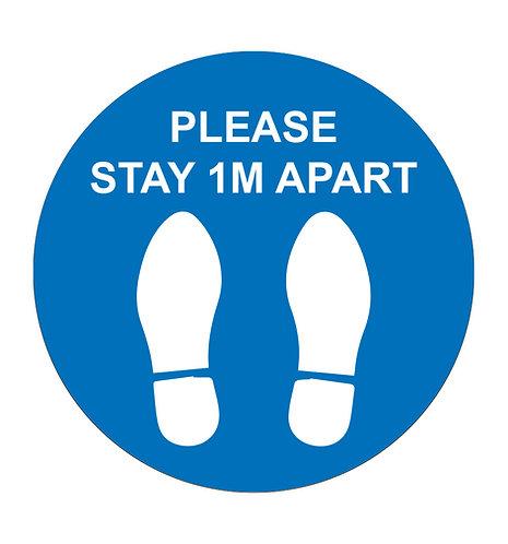 Please Stay 1m Apart Blue - Floor Sticker