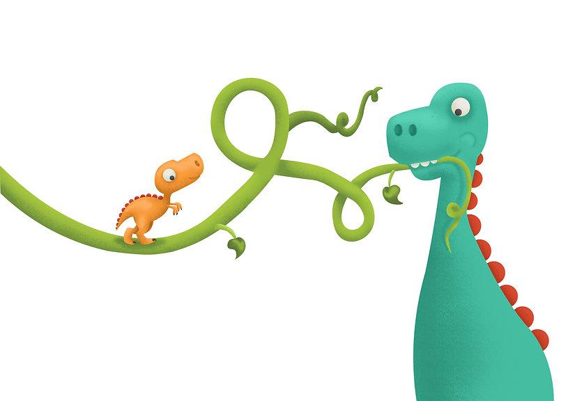 Dinosaur, beanstalk, wall art, illustration