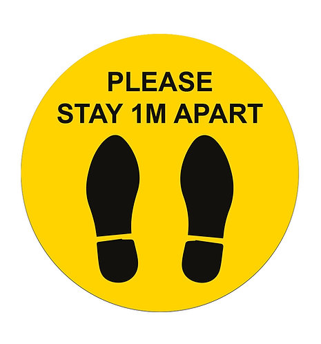 Please Stay 1m Apart Yellow - Floor Sticker