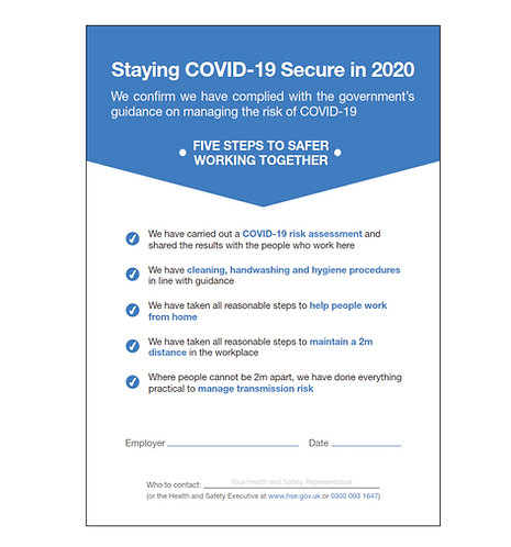 Staying COVID -19 Secure - Foamex Sign