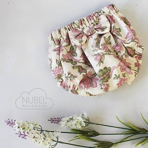 culotte, cubrepañal, handmade bebe, ropa bebe, cubrepañal flores, culotte con lazo