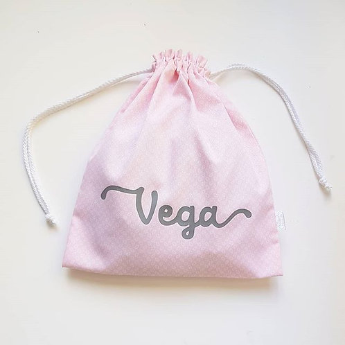 Bolsa de tela, bolsa para la merienda personalizada con nombre