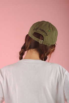 Classic Stuff Happens Cap in Olive Green