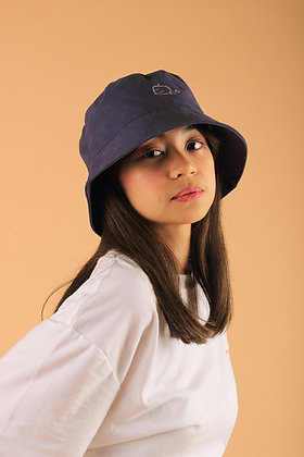 Oh Whale Bucket Hat in Space Blue