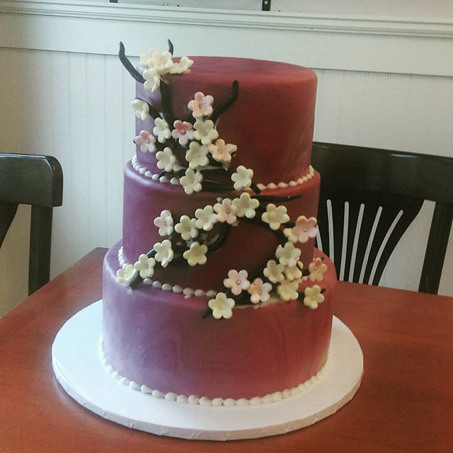 Dark Maroon Wedding Cake