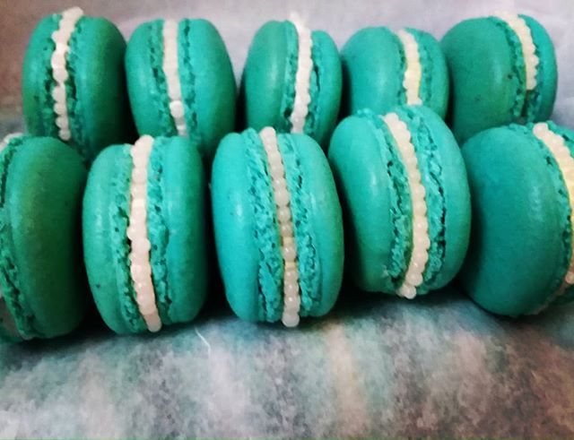 Turquoise Macarons With Sugar Pearls