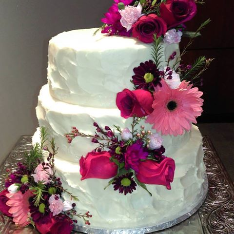 Fresh Flower Wedding Cake Fort Wayne