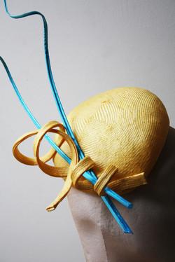 Yellow & Turquoise Straw Beret