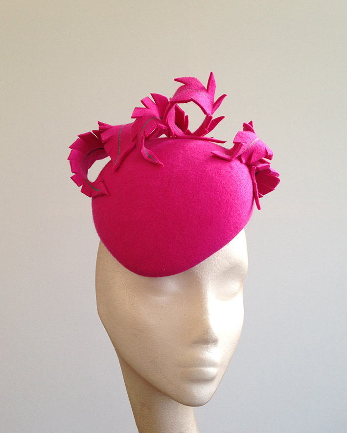 Bright Pink Feather Beret