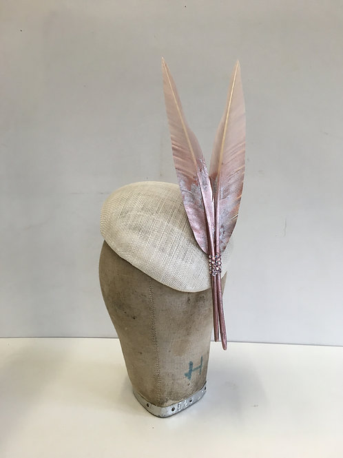 Striking Ivory Beret Striking Hat with Two Dip Dyed Rose Gold Pointed Feathers w