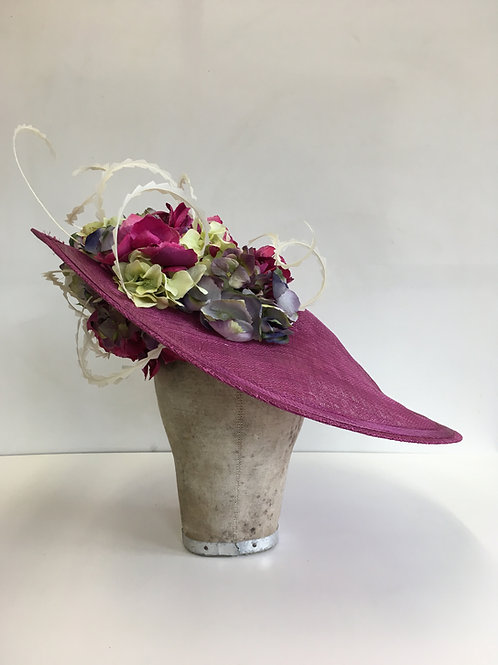 Large Magenta Saucer with Multicoloured Hydrangea Flowers Feather Curls