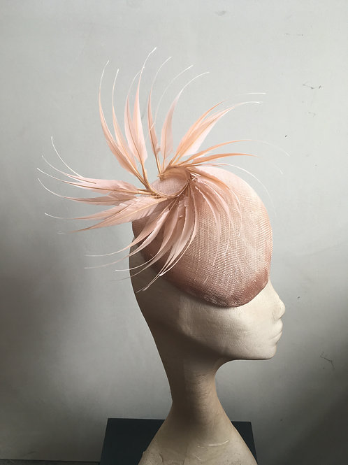 Genevieve - Striking Peach Nude Beret Striking Hat with Pointed Feathers Twist