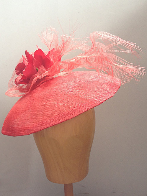 Striking Red Dior-esque Saucer with Flowers and Crin Details