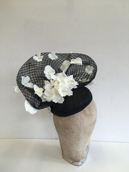 Black Lattice Sinamay Headpiece with White Hydrangea and Pearls.