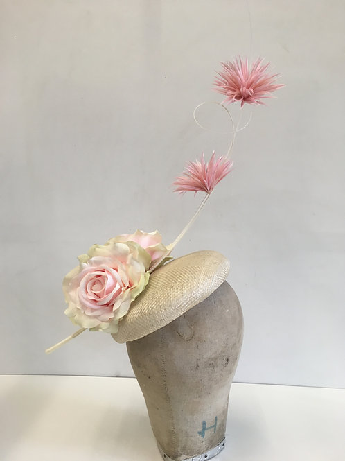 Striking Beautiful Headpiece Textured Straw Large Button (hat) - with Pink / Whi