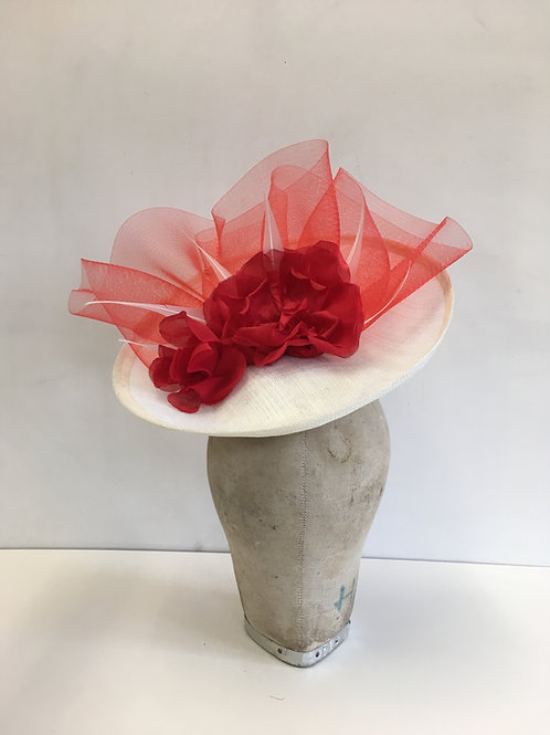 White Sinamay with Red Ruffles and Red Silk Roses