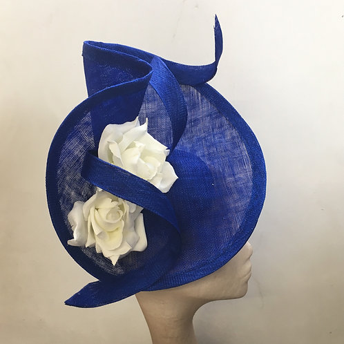 Keani - Cobolt blue sinamay headpiece with white roses