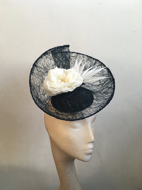 Zephyr Black Tangle Sinamay with White Rose and White Arrow feathers