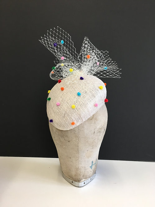 Striking Pale Silver Beret Striking Hat with Bright Colourful Chenille Spot Veil