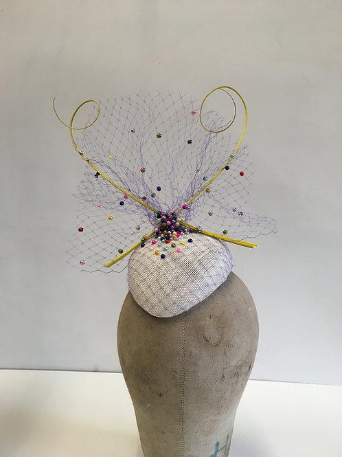 Small White Beret with Lilac Veiling Bright Colourful Faux Pearls with Two Yello