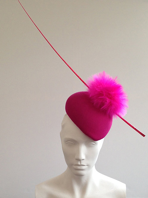 Animal - Shocking Pink Beret Hat with bright poms