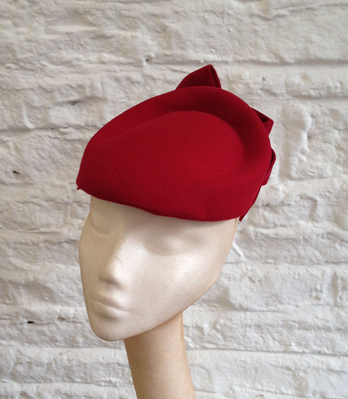 Red Felt Ripple Hat