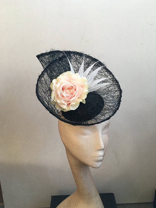Zephyr Black Tangle Sinamay with pink rose and white arrow feathers