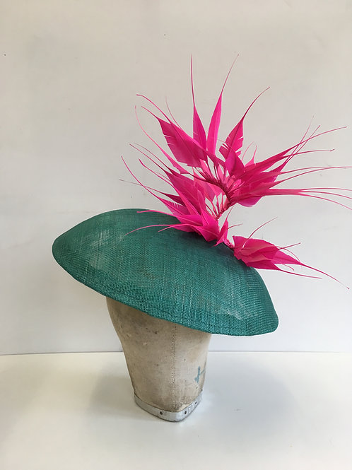 Jade Green and Bright Pink Feathers Dior-esque Saucer