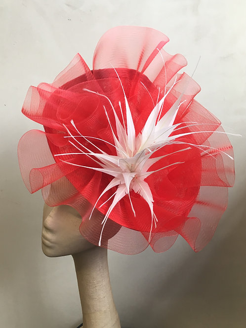Red Sinamay with Crin Ruffles and White feathers Very striking Headpiece