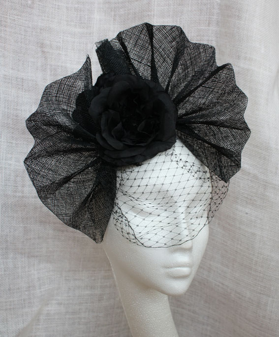 Black Veiled Pleats