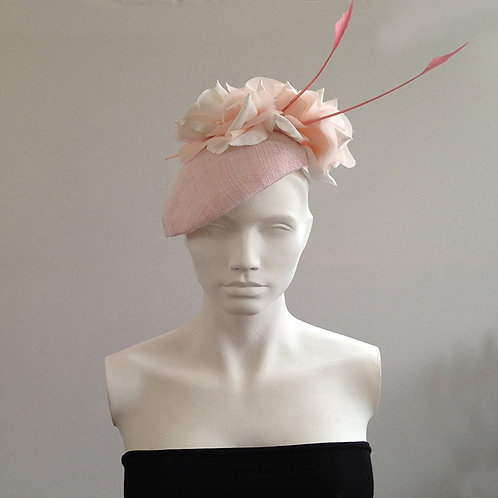 Blair - Pale Pink And Ivory Flower Beret