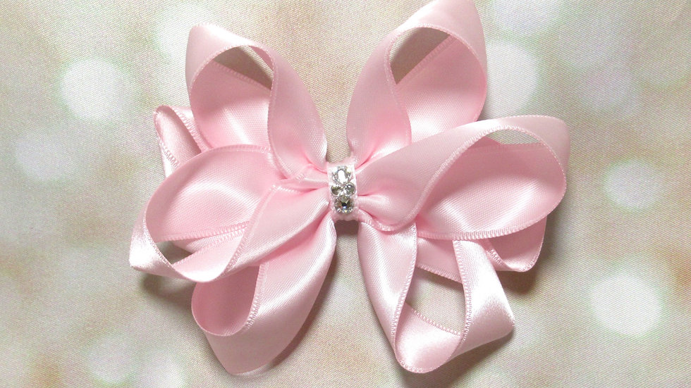 Satin Piggytail Bow w/ Crystals - Pretty In Pink