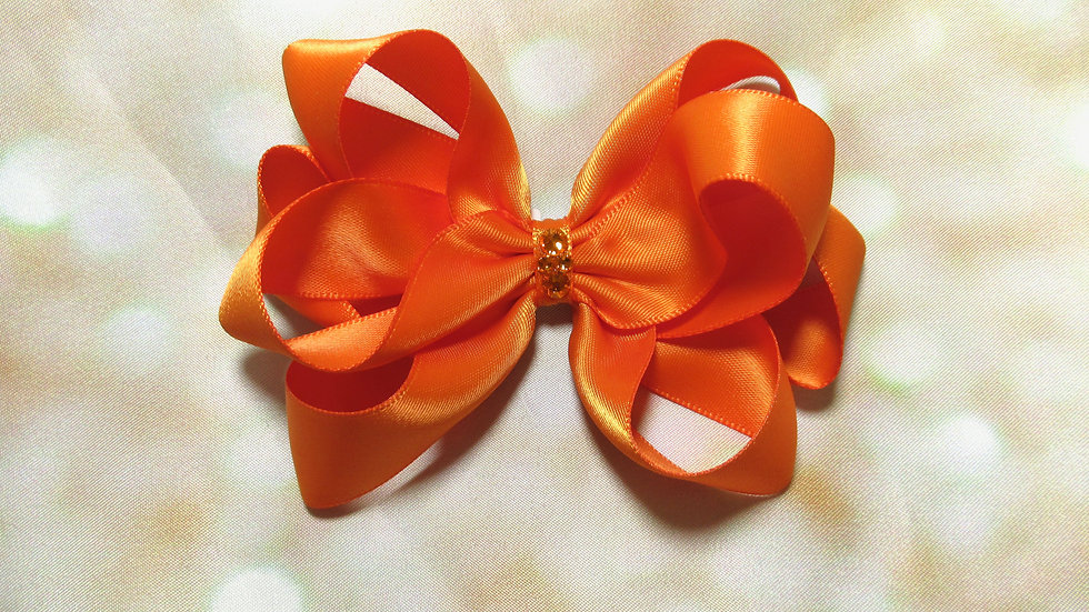 Satin Piggytail Bow w/ Crystals - Rays of the Sun