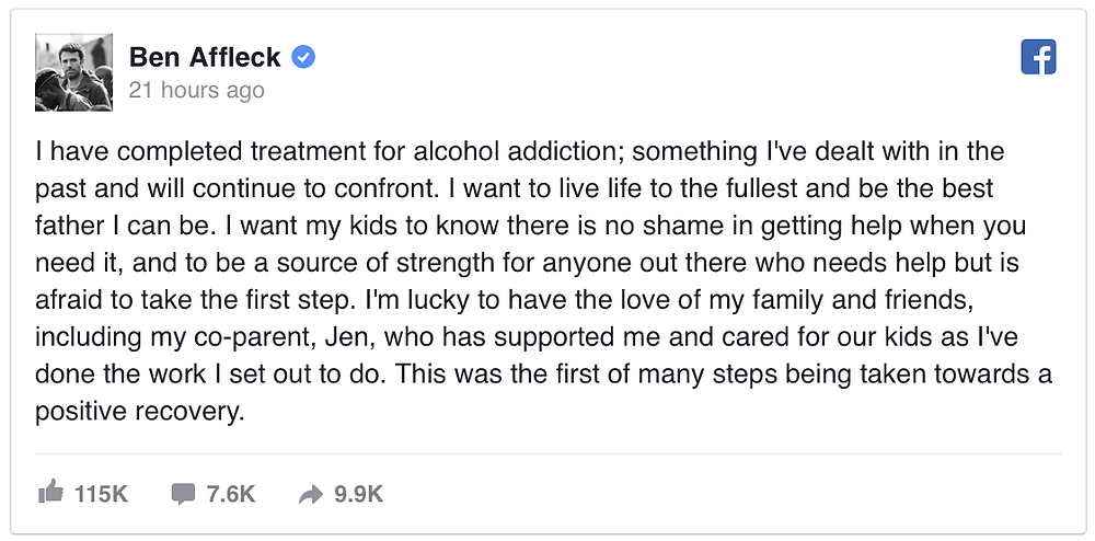 Ben Affleck Addiction Treatment Facebook Post