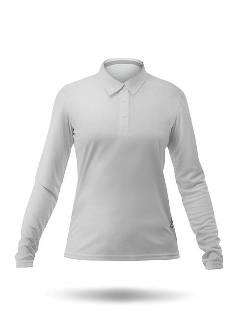 WOMENS LONG SLEEVE ZHIKDRY LT POLO - ASH