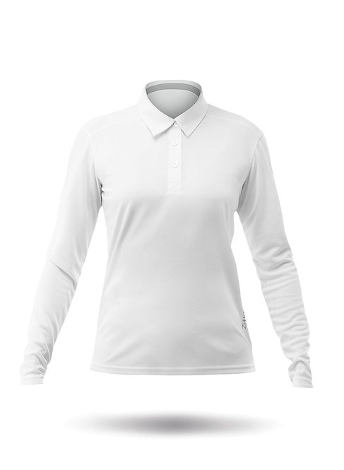 WOMENS LONG SLEEVE ZHIKDRY LT POLO - WHITE
