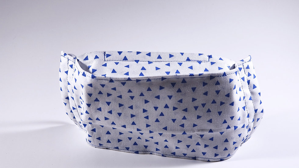 White and Blue Triangles Face Mask