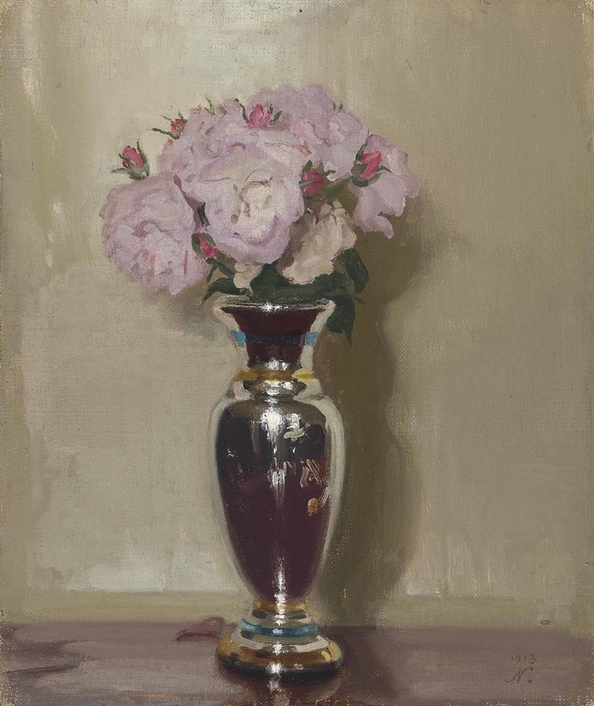 Pink Roses in a Silver Lustre Vase
